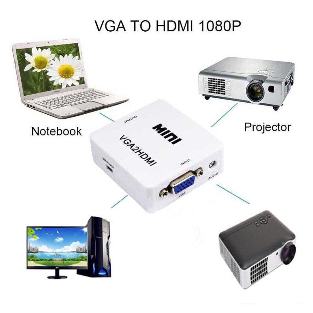 Mini convertidor VGA Audio a hembra HDMI 1080p Adaptador convertidor con Cable de Audio de 3,5mm para ordenador portátil DVD VGA a HDMI Digital
