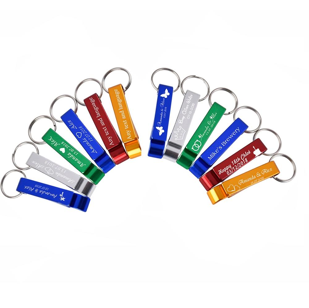 100 قطعة فتاحات زجاجة محفورة شخصية Keyrings المفاتيح هدايا لحفلات الزفاف عيد الميلاد شعار شركة أكياس أورجانزا اختيار