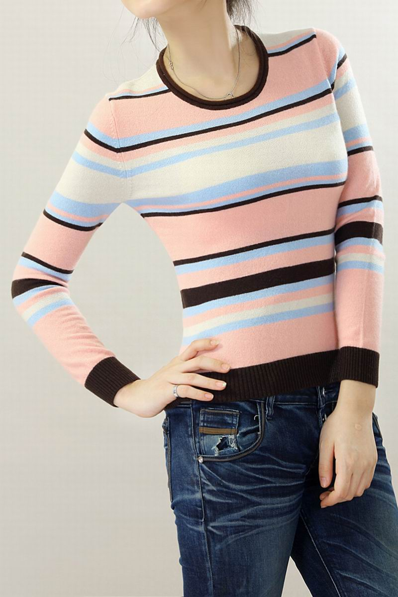 100%Cashmere Pink Sweater Women O neck Pullover Striped Natural Fabric Soft Warm High Quality Clearance Sale Free Shipping enlarge