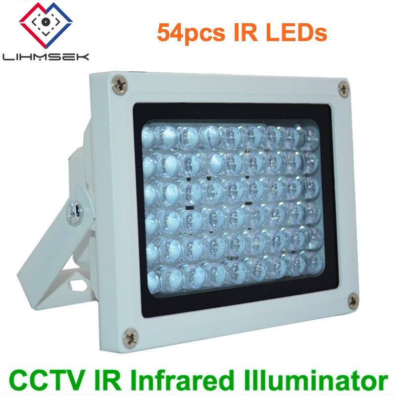 Lihmsek 50m IR distancia 54 Leds IR iluminadores LED IR infrarrojo CCTV Cámara visión nocturna Luz de relleno para cámara de seguridad CCTV