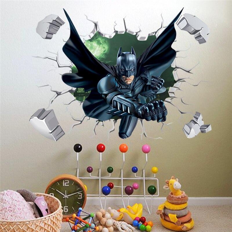 Pegatina de pared de Batman rota para habitación de niños, dibujos animados, decoración de pared para el hogar, arte de pared con efecto 3D de PVC, calcomanía de regalo para niños