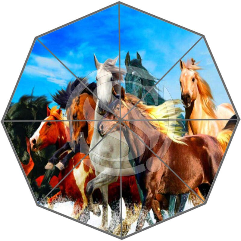 Nueva llegada personalizado hermoso caballo mejor bonito diseño fresco portátil moda elegante útil paraguas plegable SQ0617-DDF450