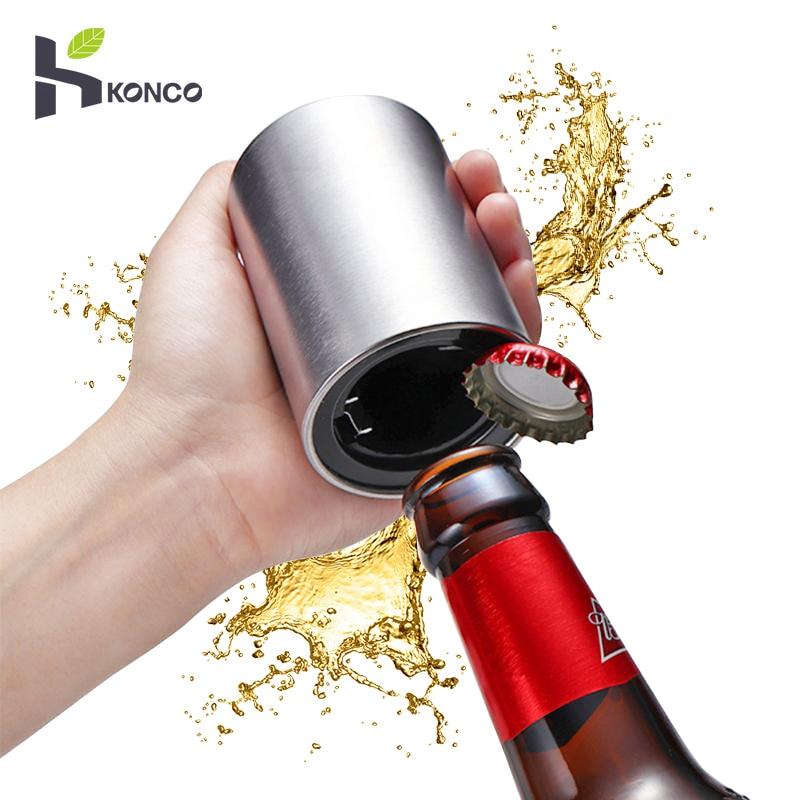 KONCO Magnetic Automatic Beer Bottle Opener Stainless Steel Magnet Jar Opener Kitchen Bar Accessoris Wine Can Openers