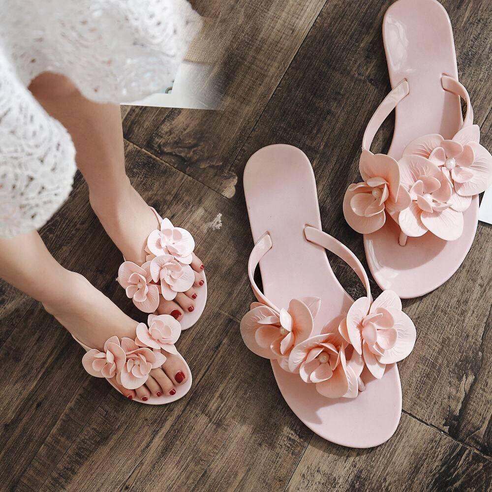 Casual Mujer Sandalias de zapatos de gelatina derramada dedo Flip Flops, sandalias de Playa Hermosa zapatillas lindas zapatos
