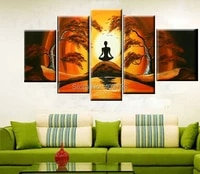 modern abstract huge large canvas art oil painting 5p meditation landscape paintings no framed