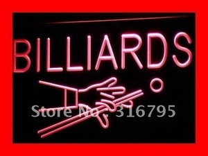 i309 Billiards Pool Room Table Bar Pub NEW Light Signs On/Off Switch 20+ Colors 5 Sizes