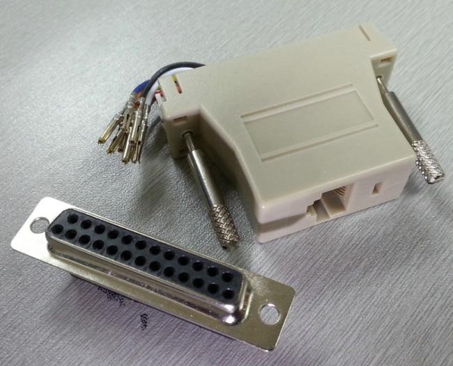 10 unids/lote envío gratis DB25 hembra a RJ45 hembra adaptador Modular