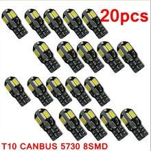 20PCS led Car Interior Bulb Canbus Error Free T10 White 5730 8SMD LED 12V Car Side Wedge Light White Lamp Auto Bulb Car Styling
