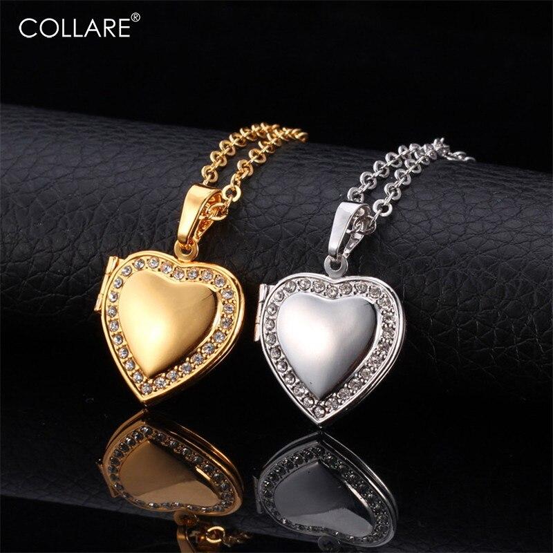 Collar pendiente de relicario de corazón oro/plata cristales de estrás regalo mujer foto de joyería/Collar de medallón de memoria mujeres P292