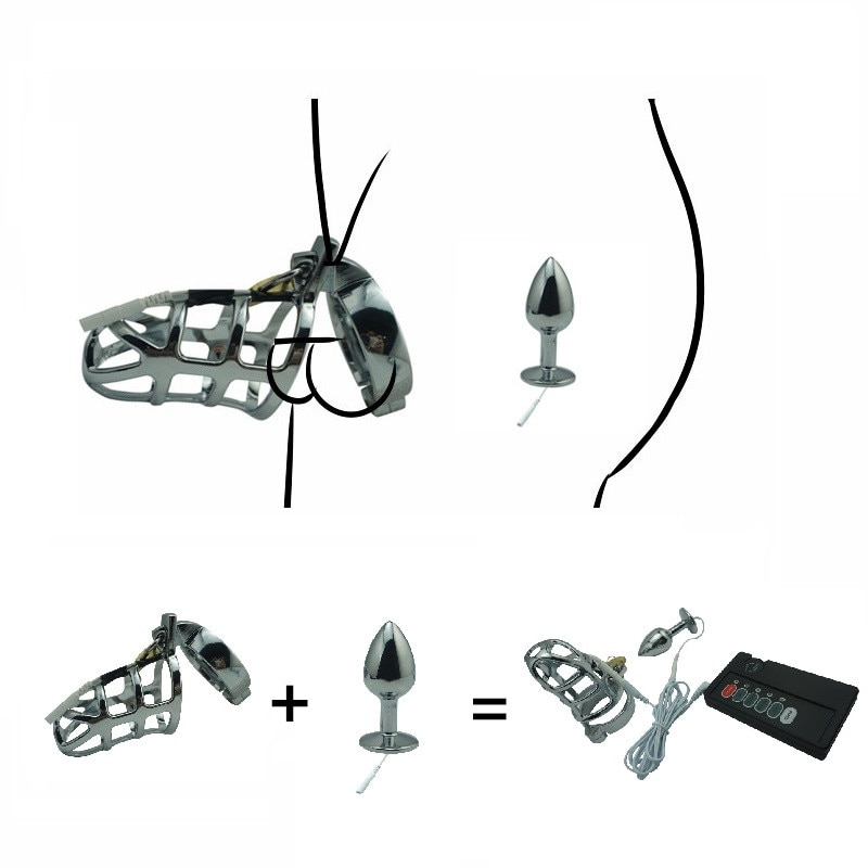 Electro shock set jaula de castidad para hombre SM bondage dispositivo CB6000 metal anal butt plug pene anillo estimulación eléctrica juguete sexual masculino