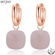 MetJakt mode naturel boucles doreilles en Agate Rose solide 925 en argent Sterling avec couleur or Rose pour les Occasions de dame bijoux fins