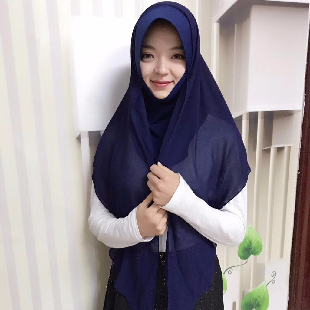 Instantâneo Fácil Conveniente Hijab muçulmano Cachecol Pronto A Vestir Patchwork Xale Lenço de Chiffon com Turbante Interior Muslima