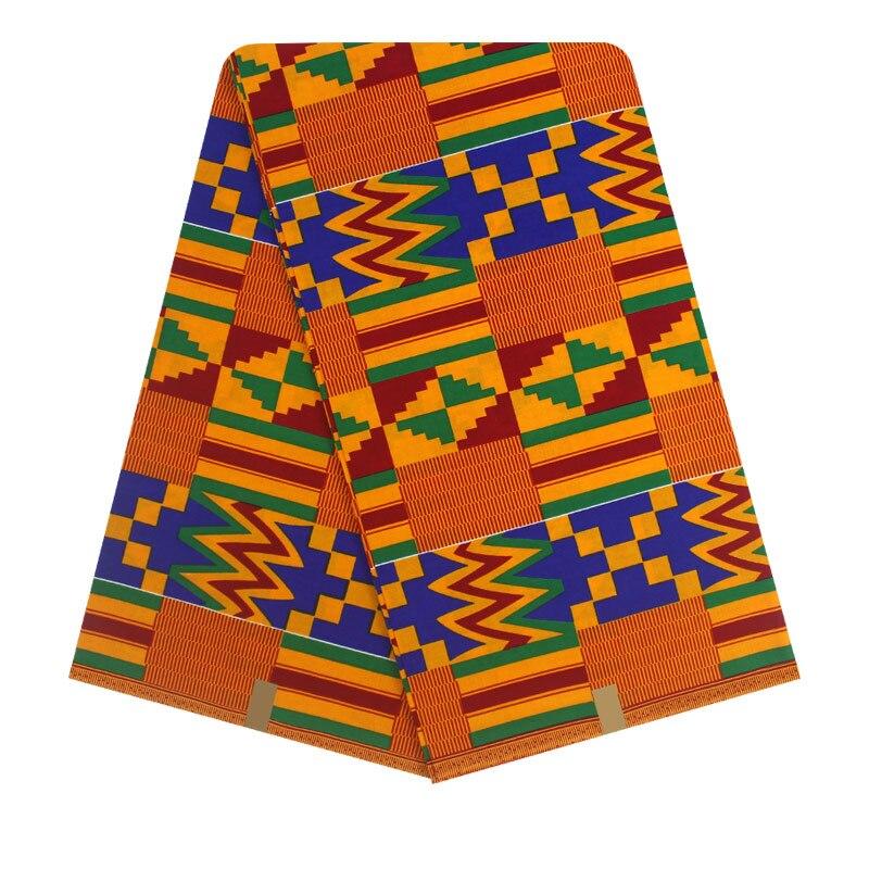 Paño Kente tejido con estampado africano, tela KENTE Kitenge, Ghana, 6 yardas DF-75