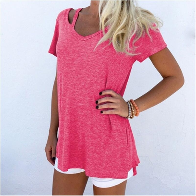 womens shirts 2019 summer cute top casual tshirt loose vintage streetwear tops female tee new fashion women v-neck