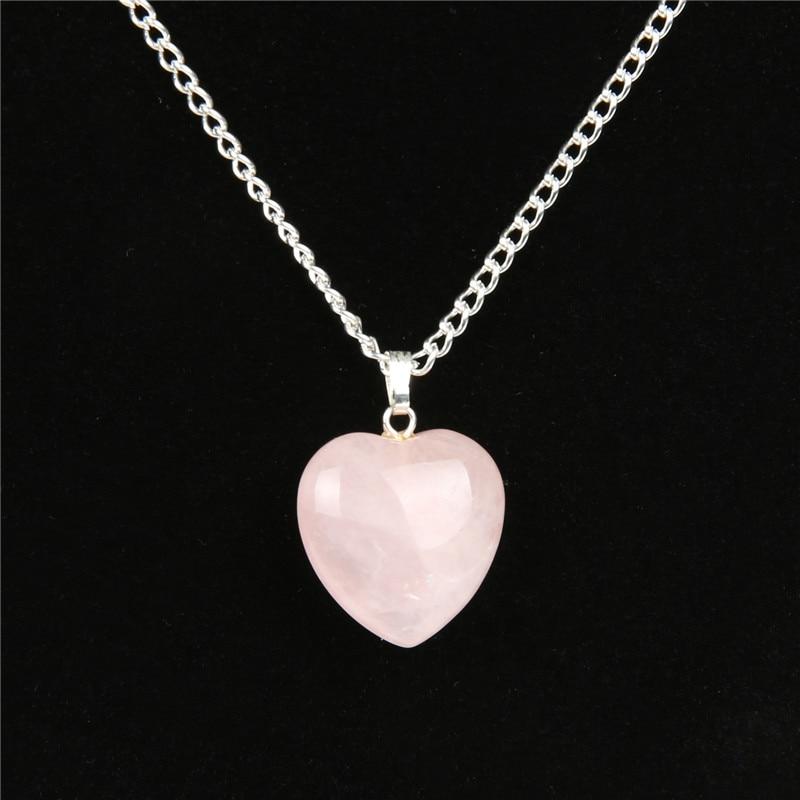 Natural Rose Quartz Heart Necklace Valentines Day Women Fashion Romantic Jewelry Chakra Reiki Crystal  Healing Stone Pendant