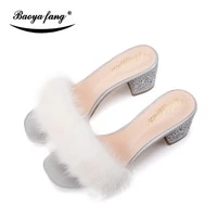 new arrival winter womens slippers adult female shoes slippers thick heel crystal party shoes woman luxury high shoes