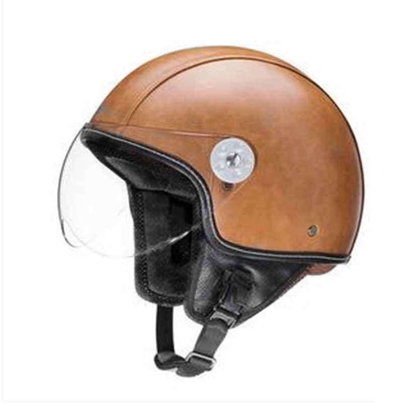VOSS Brands Helmet PU Leather Mens womens Capacete Motorcycle RETRO Helmet Vintage Casco Motorbike Riding Half Helmets