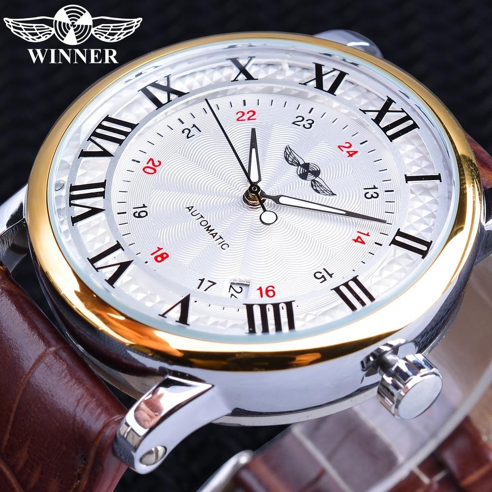 Winner 2019 موضة الأبيض الذهبي ساعة تاريخ العرض براون حزام جلد ساعات أوتوماتيكية الميكانيكية للرجال العلامة التجارية الفاخرة
