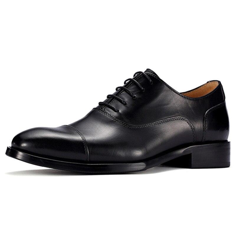 Zapatos de vestir formales Oxford con elevador de cuero de vaca hecho a mano, altura creciente de 6CM para fiesta de boda