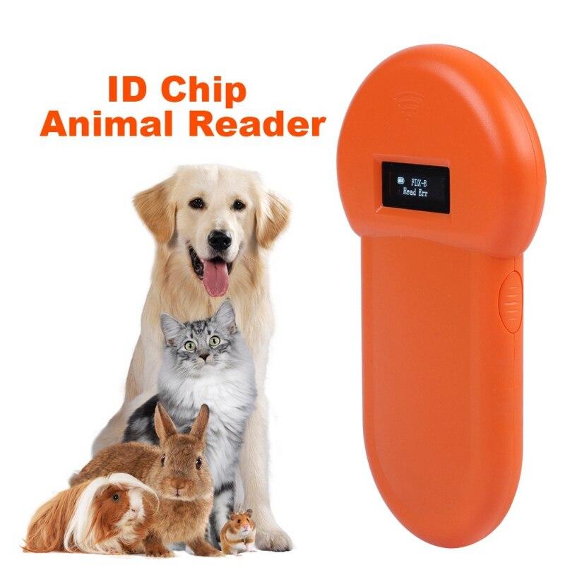 Usb portátil leitor de cartão de identificação animal iso 11784/85 display lcd animal microchip scanner tag código de barras scanner para cão gato tela lcd