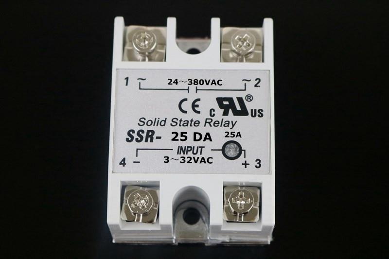 DC to AC Solid State Relay SSR-25DA 25A 3-32V 24-380V + Aluminum heat sink