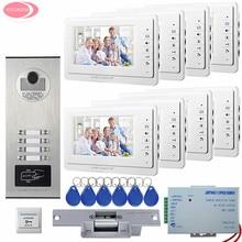 Système de porte interphone vidéo 7 pouces   Écran pour appartement, 8 moniteurs, caméra porte daccès RFID pour 8 la maison familiale + verrouillage de la grève électrique