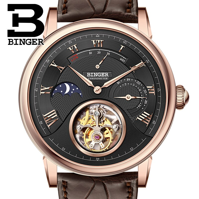 Suíça Binger Relógios Luxo Gaivota Automático Movemt Relógio Masculino Tourbillon Safira Jacaré Esconder Mecânica B80801-4 Men