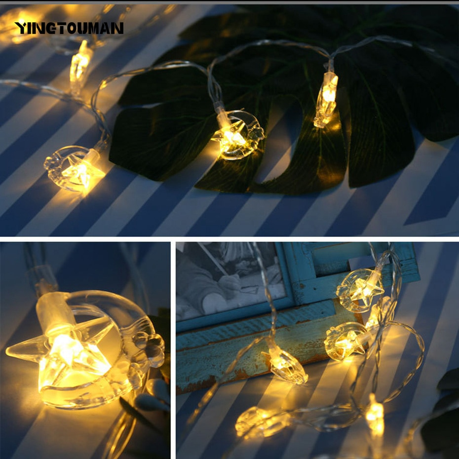 YINGTOUMAN 1.2m10LED de calidad superior Battey Star/Moon lámpara luces de Navidad guirnalda de luces para jardín al aire libre