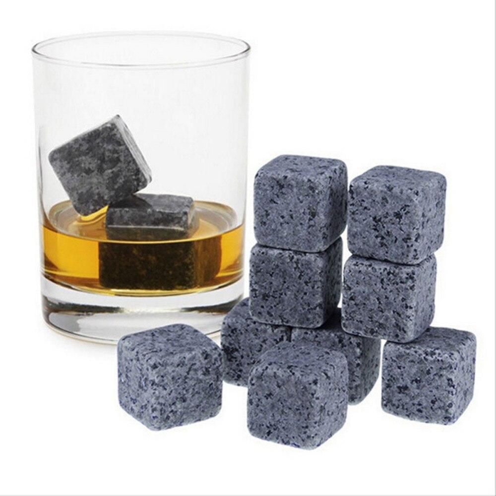 Piedras de Whisky naturales, piedra de hielo de roca para beber Whisky, Enfriador de Alcohol, regalo de boda, accesorios para Bar de Navidad 6 uds/9 Uds.