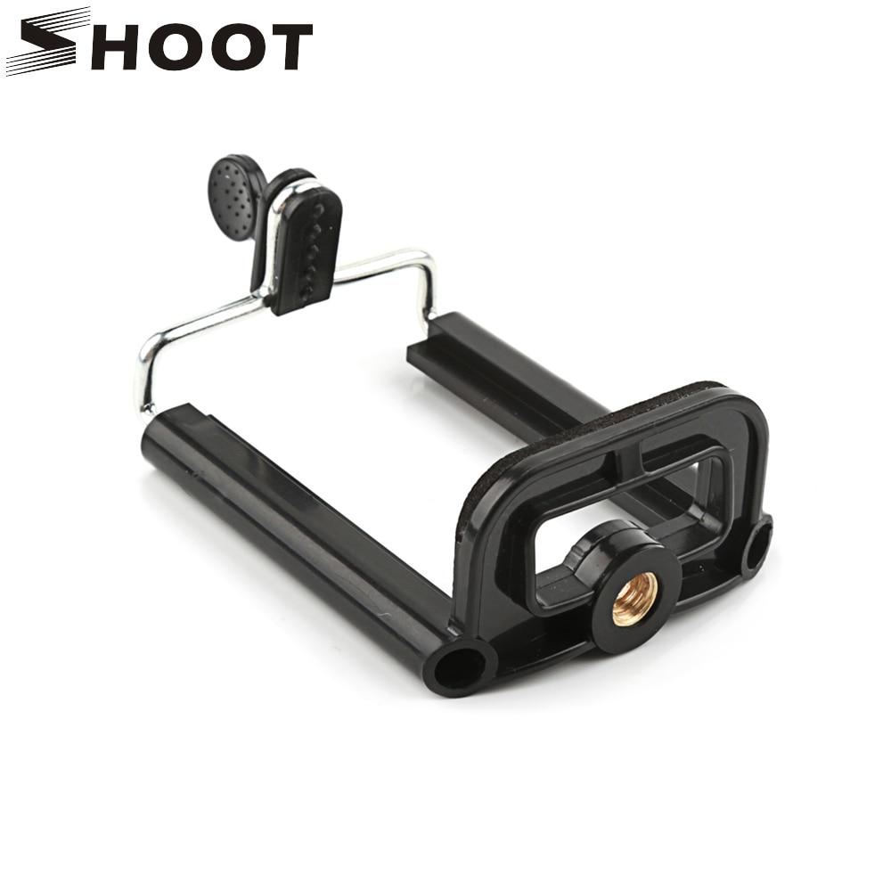 SHOOT trípode para soporte de teléfono negro para el soporte del trípode del teléfono con 1/4 pulgadas tuerca tornillo agujero Selfie Stick accesorios de la cámara del Clip del teléfono