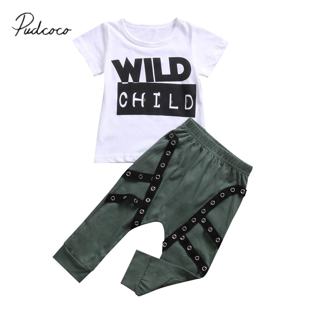 Citgeett mignon enfant en bas âge enfant bébé garçons sauvage enfant T-shirt manches courtes haut + pantalons longs tenues ensemble de vêtements 0-3Y