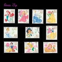 10 pièces/ensemble   Petits timbres-poste de dessin animé japonais utilisés pour la collecte
