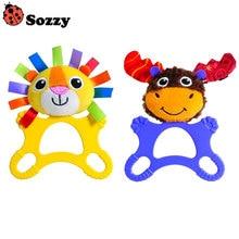 Enfants jouets Extra grand anneau de dentition hochets anneau cloche dessin animé Lion renne poupées infantile nouveau-né bébé en peluche cadeau FJ88