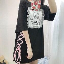 Japonês Lolita Preto Longo T Shirt para As Mulheres Harajuku Tees Tops Gótico Bonito Dos Desenhos Animados do Kawaii Anime Branco Lace Up Feminino t-shirt