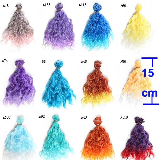 1 шт. толстые кукольные волосы 15 см * 100 см термостойкие шерстяные Вьющиеся Цветные кукольные парики для 1/3 1/4 1/6 BJD