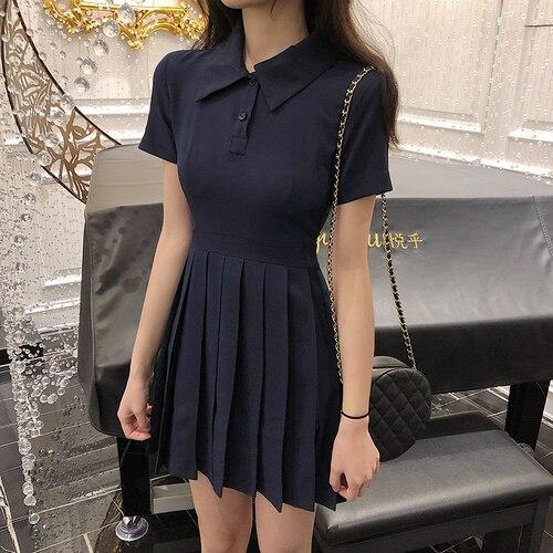 Tênis Menina Vestido Azul Plissado Cintura Alta Mini Vestidos de Peter Pan Collar Vestido Vintage Breve Pano Mulher Moda Coreano