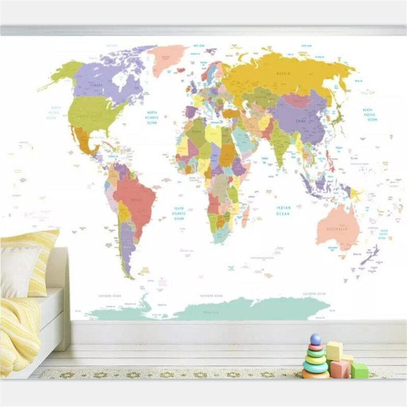 Papel pintado de beibehang personalizado mapa del mundo a gran escala mapa inglés Fondo pintura de pared sala de estar dormitorio pintura decorativa