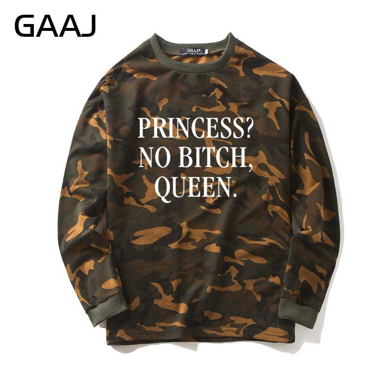 """GAAJ """"princesa No perra reina"""" sudadera de camuflaje hombres mujeres sudadera Camo abrigos populares ropa Casual de alta calidad"""