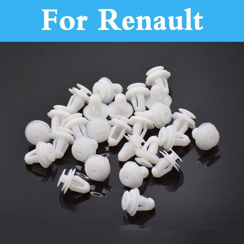 50pcs White Plastic Rivet Car Door Side Skirt Clips For Renault Twizy Vel Satis Symbol Talisman Twingo Wind Zoe Sandero Rs