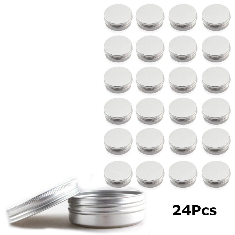 24 Упак. 60 мл мелкие круглые металлические жестяные контейнеры банки для бальзама для губ и ремесла контейнеры для хранения с винтовой крышкой для хранения губ