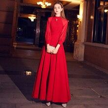 Weiyin rouge élégant une ligne longue robe de soirée 2020 nouveau col haut manches longues robe de soirée corsage Vestido Longos WY1243