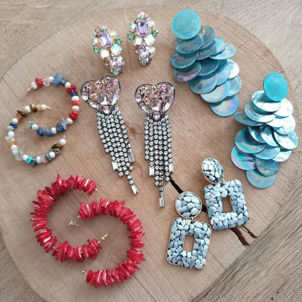 Best lady 2019 Boho Shell Pieces Handmade ZA Drop Earrings for Women Mix Color Trendy Wedding Fringed Dangle Earrings Wholesale