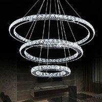 New Creative 3-Rings Crystal Lighting Pendant Lamp Modern Simplicity Living Room Lamp LED Ceiling Lamp Pendant Lights 100-240V