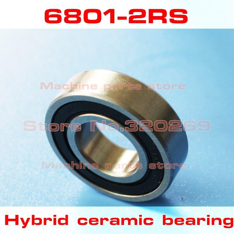 Radial 6801 61801 6801RS S61801 2RS 12*21*5 12x21x5mm de acero inoxidable rodamiento de bolas de cerámica híbrido Si3N4 buje de bicicleta parte