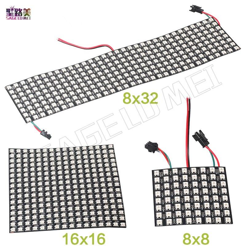 DC5V 8*8/16*16/8*32cm Pixel WS2812B LED kolorowy Panel cyfrowy elastyczny indywidualnie adresowalny wyświetlacz Flex światła RGB