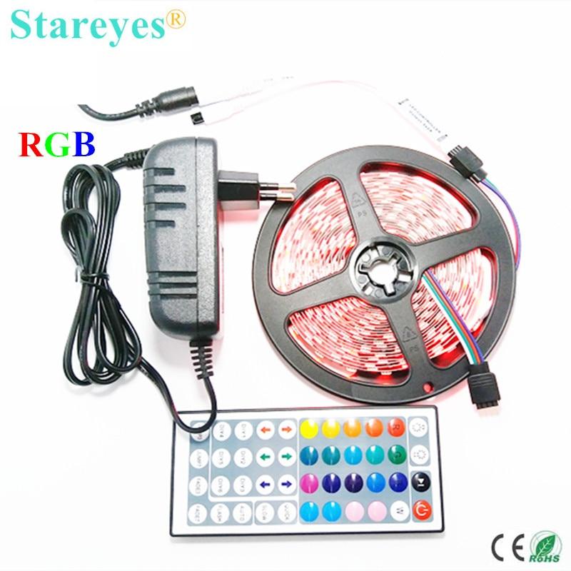 1 set SMD 5050 60 LED / M 5M LED RGB led Strip flashlight tape lighting Non Waterproof RGB strip+44 key Remote+3A Power Adapter