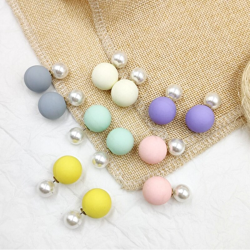 Bunte Simulierte Stud Ohrringe Für Frauen Schmuck Doppel Seiten Ball Perle Pendientes Weiblichen Koreanischen Gelb Rosa Ohrringe 2019