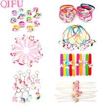 QIFU Tema de unicornio decoración de fiesta unicornio suministros de fiesta unicornio cumpleaños Deco niños anillo llavero de regalo licorne anniversaire