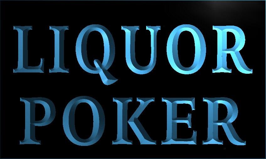 S028 licor Poker cerveza Bar Pub letrero de neón con luz LED