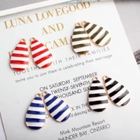 10pcs fashion enamel striped water droplets charms for bracelet exaggerated earrings pendant diy jewelry findings accessories